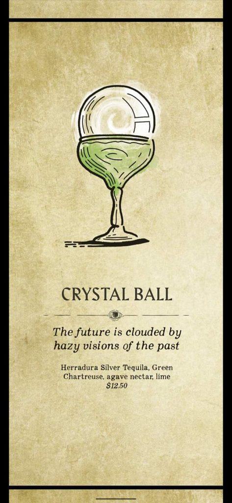 Fortune Teller Bar Menu on the Carnival Mardi Gras - Crystal Ball