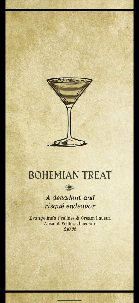 Fortune Teller Bar Menu on the Carnival Mardi Gras - Bohemian Treat