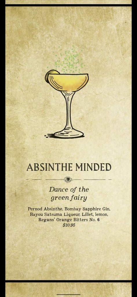 Fortune Teller Bar Menu on the Carnival Mardi Gras - Absinthe Minded