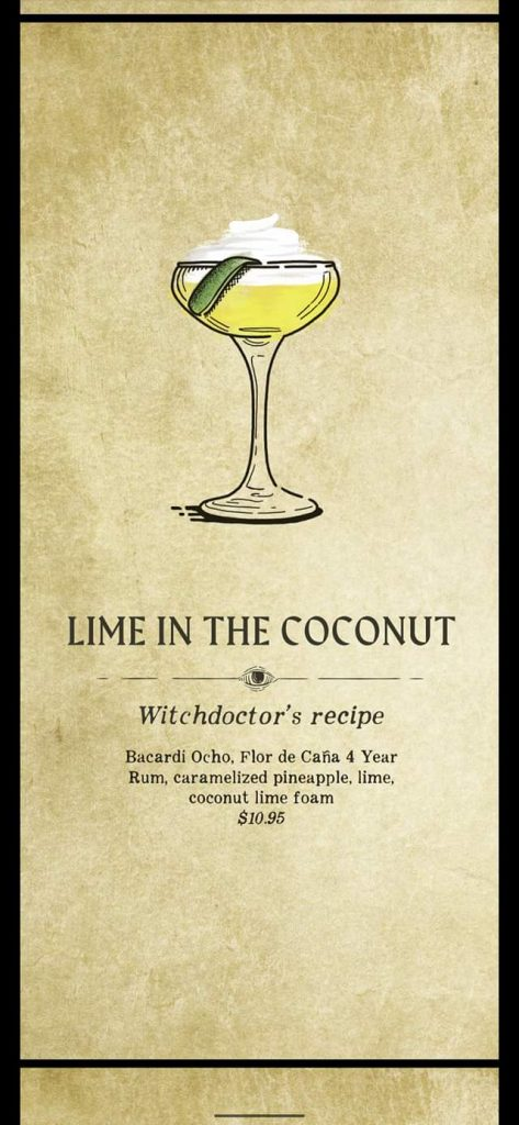 Fortune Teller Bar Menu on the Carnival Mardi Gras - Lime in the Coconut
