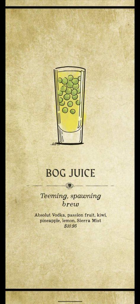 Fortune Teller Bar Menu on the Carnival Mardi Gras - Bog Juice
