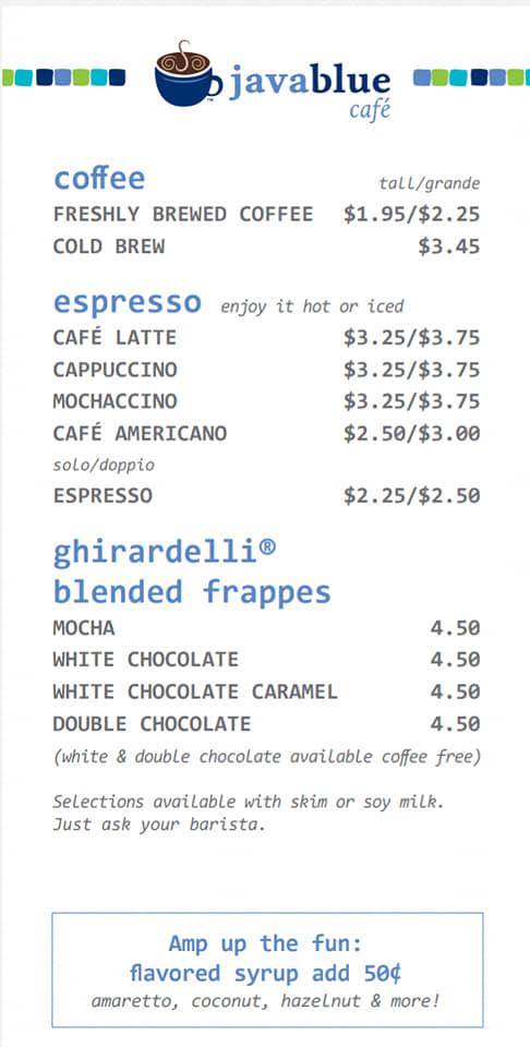 Carnival Java Blue Cafe Drink Menu Page 1