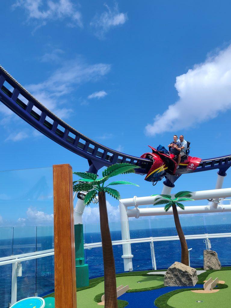 Riding Bolt roller coaster on Carnival Mardi Gras