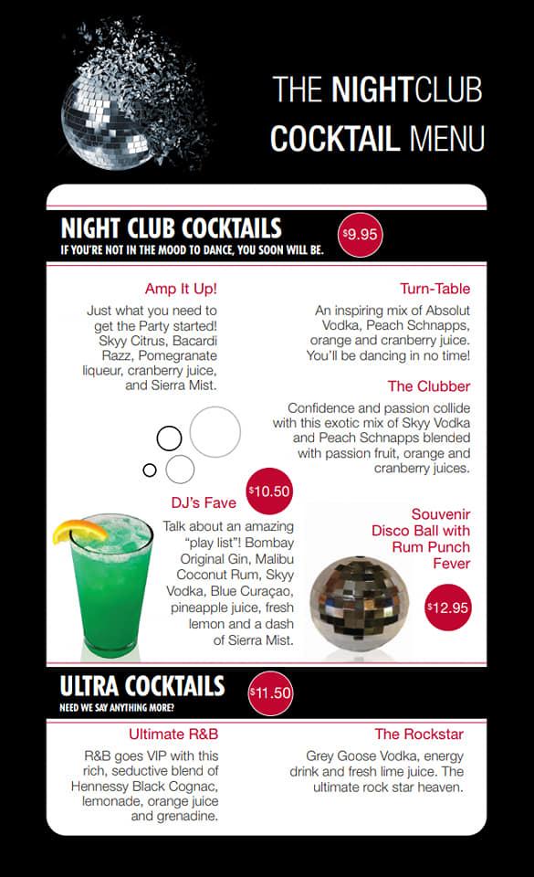Carnival Nightclub Bar Menu Page 1