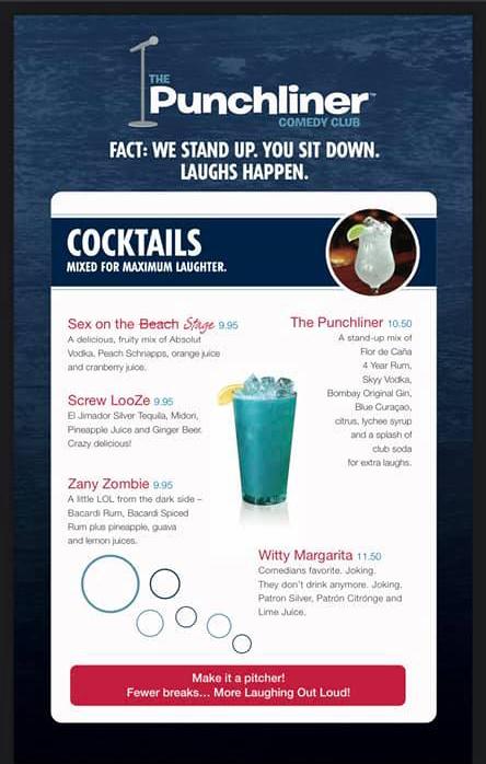Punchliner Comedy Club Drink Menu