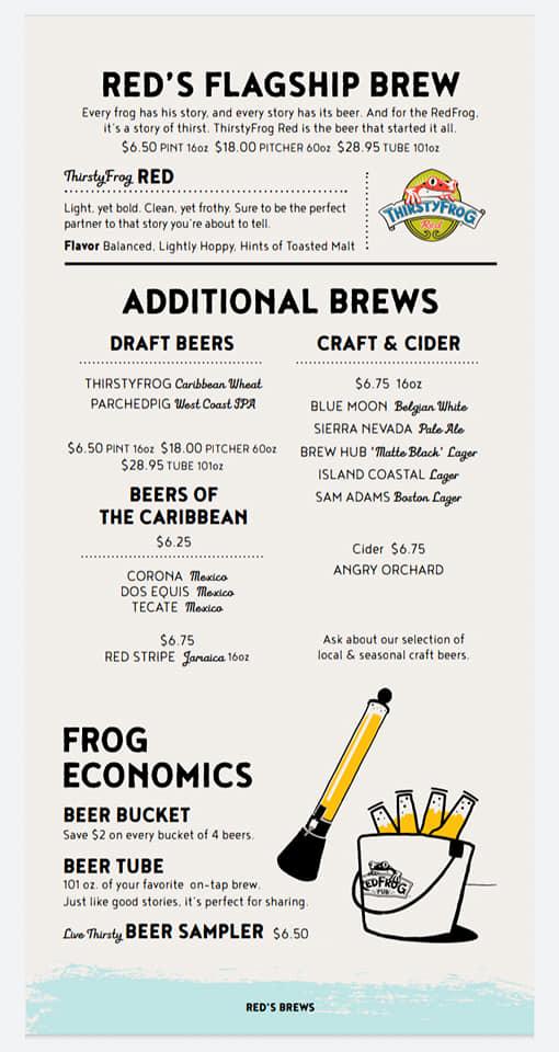 Carnival Red Frog Pub Drink Menu Page 1