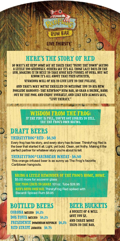 Carnival Red Frog Rum Bar Drink Menu - Page 1