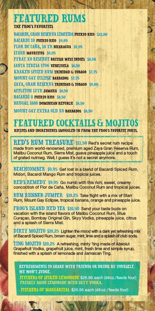Carnival Red Frog Rum Bar Drink Menu - Page 2