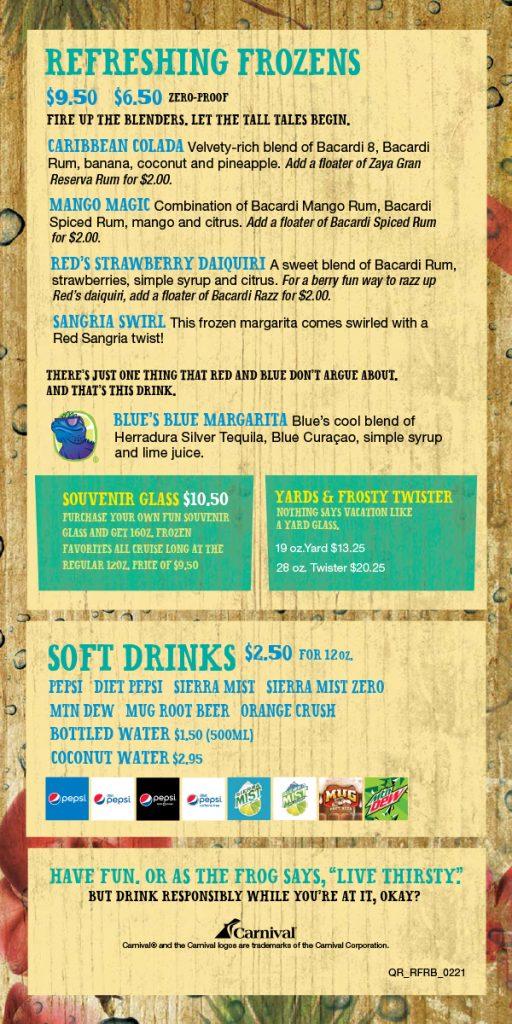 Carnival Red Frog Rum Bar Drink Menu - Page 3