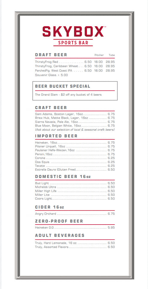 Carnival Skybox Sports Bar Drink Menu Page 2