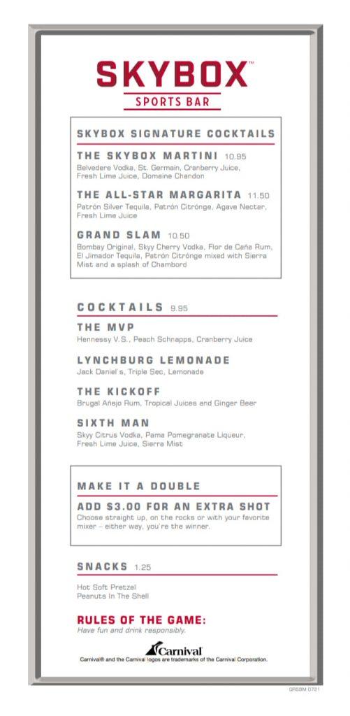 Carnival Skybox Sports Bar Drink Menu Page 1