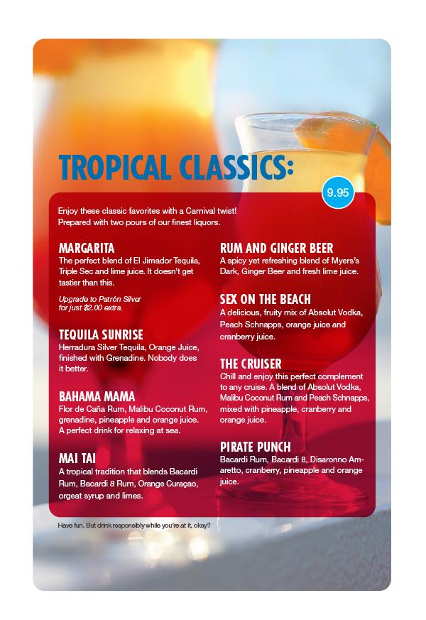 Carnival Tides Bar Drink Menu - Page 3