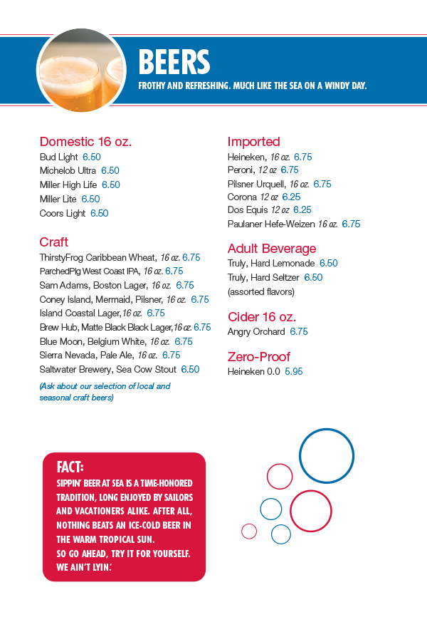 Carnival Tides Bar Drink Menu - Page 4