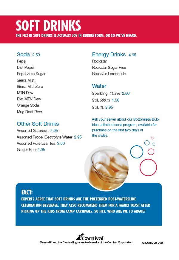 Carnival Tides Bar Drink Menu - Page 5