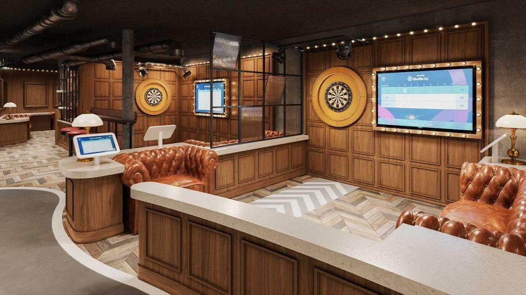 dart board in electronic game on cruise ship