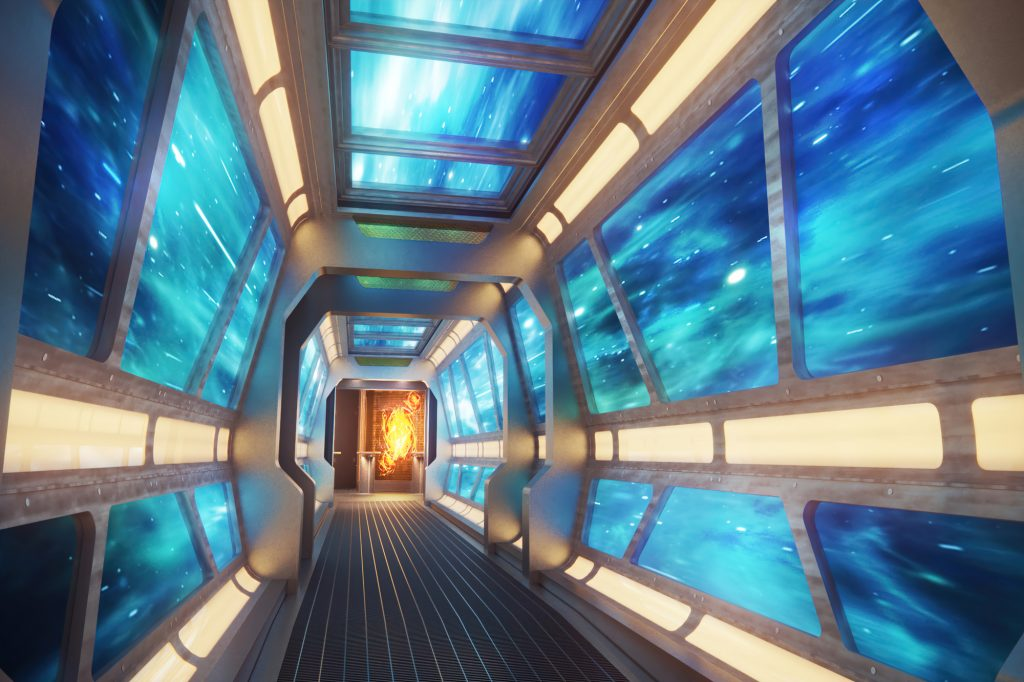 Starship themed hallway going into a video arcade