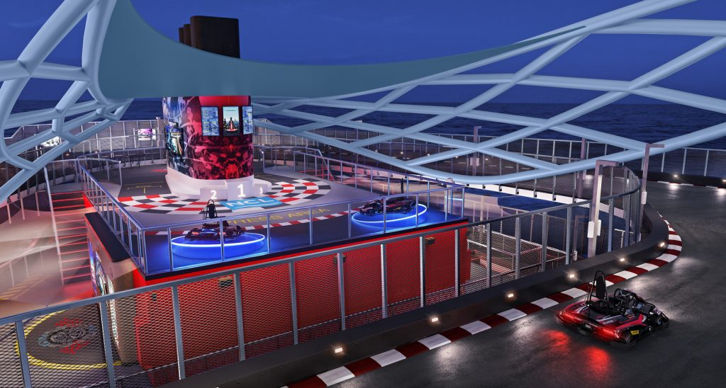 race track with gokarts on a cruise ship