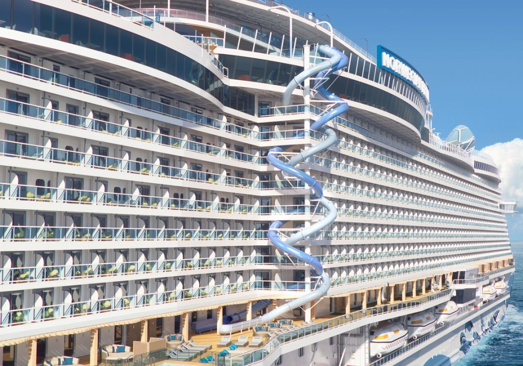 2 dueling thrill slides on the side of a cruise ship