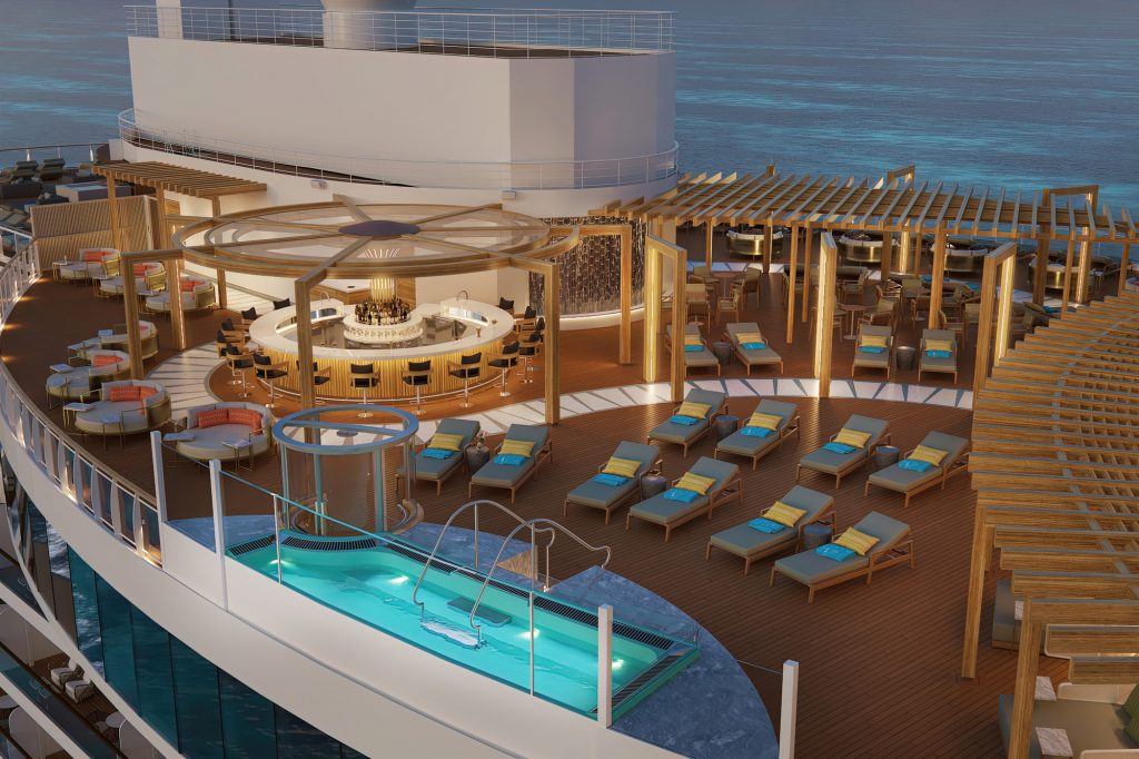 infinity hot tub on a cruise ship deck with lounge chairs