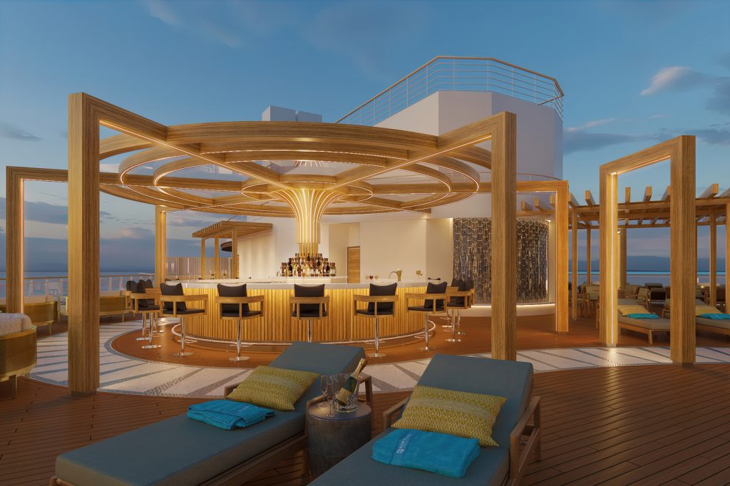 outdoor bar in private club on a cruise ship with lounge chairs