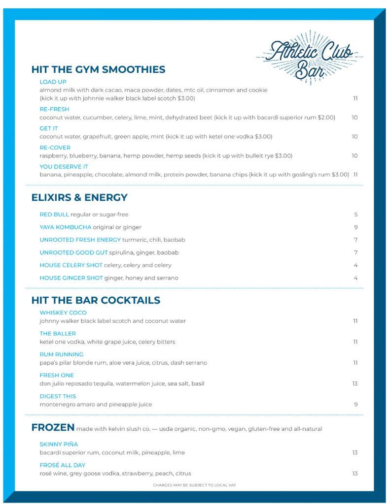 Athletic Club Bar Menu - Page 1