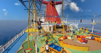 kid on ropes course on a cruise ship